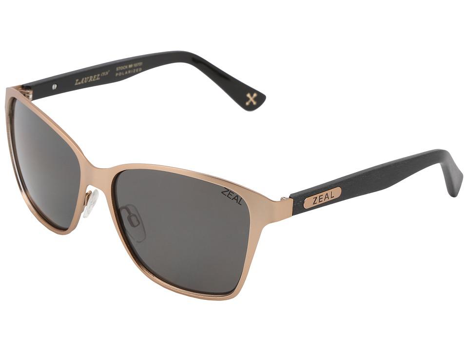 Zeal Optics Laurel Cyn Polarized Rose Gold/Dark Grey Polarized Lens Sport Sunglasses