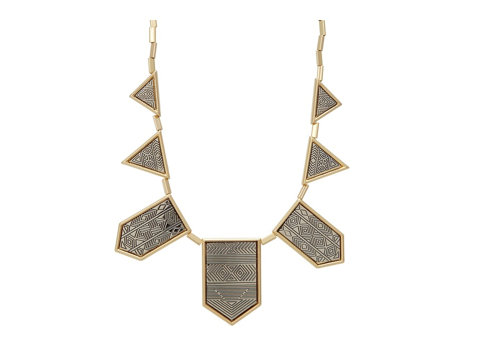 House of Harlow 1960 - Engraved Classic Station Necklace (Gold/Silver Tone) Necklace