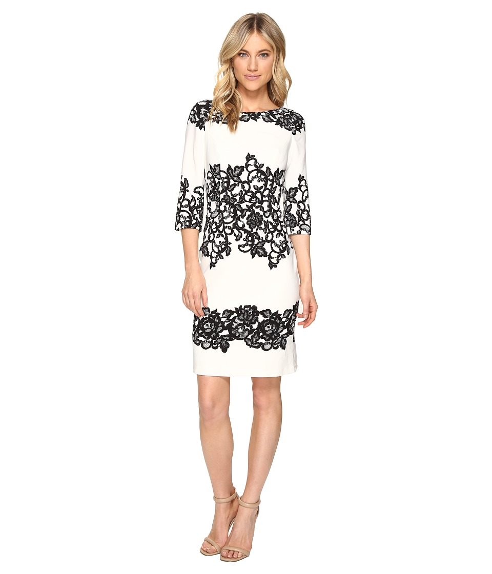 Adrianna Papell Fitted Placed Printed Lace Ivory Womens Dress