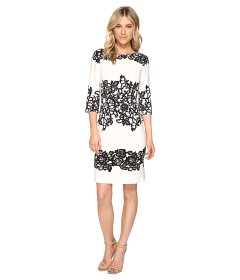 Adrianna Papell - Fitted Placed Printed Lace (Ivory) Women's Dress