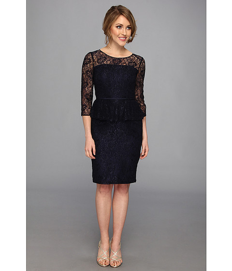Shoshanna Dresses Navy Lace Patricia Lace Peplum Dress Navy