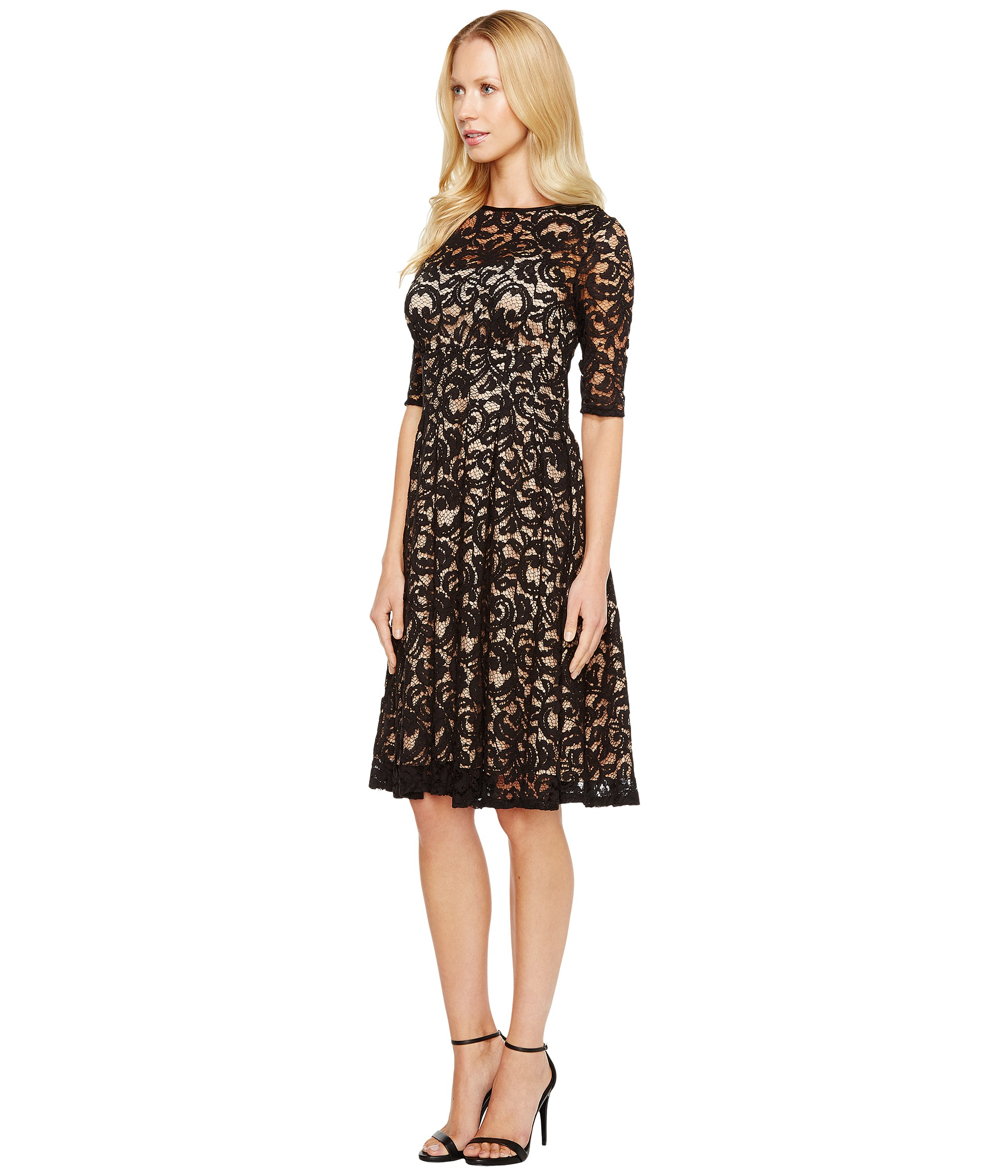 Lace Dresses With Sleeves: Adrianna Papell 3/4 Sleeve All Over Lace Dress At Zappos.com