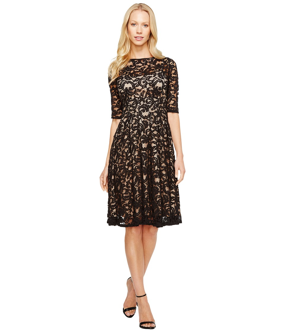 Image of Adrianna Papell - 3/4 Sleeve All Over Lace Dress (Black/Nude) Women's Dress