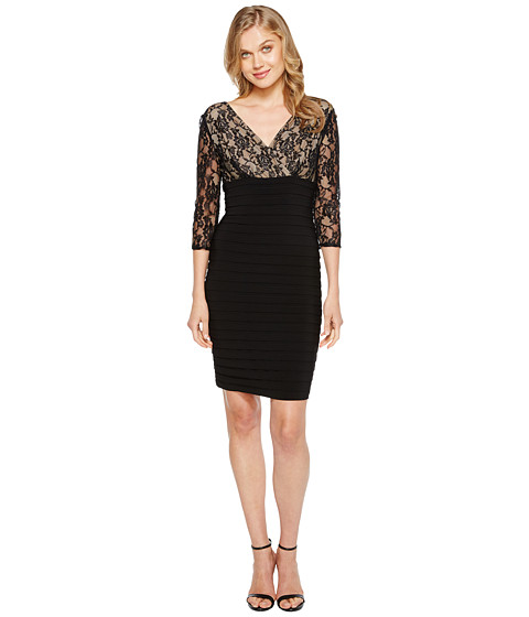 Shop Adrianna Papell online and buy Adrianna Papell L/S Lace Band Dress Black/Nude Online - Adrianna Papell - L/S Lace Band Dress (Black/Nude) - Apparel: Strike a pose in the Adrianna Papell dress. ; Exquisite lace overlays the lined bodice. ; Semi-sheer, lace, three-quarter sleeves. ; Surplice neckline with a V-back. ; Empire waist. ; Pencil style skirt is crafted from tiers ponte fabric. ; Straight hem. ; Top: 100% nylon; Bottom: 95% polyester, 5% spandex; Lining: 100% polyester. ; Hidden back zip closure. ; Imported. Measurements: ; Length: 36 in ; Product measurements were taken using size 2. Please note that measurements may vary by size.
