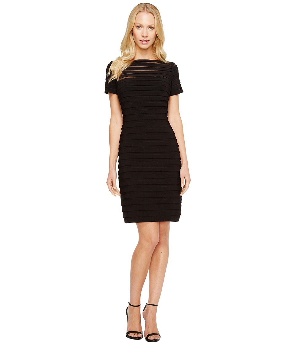Adrianna Papell - Partial Tuck Dress w/ Short Sleeve (Black) Womens Dress