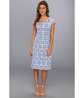 Adrianna Papell - Notched Neckline Seamed Sheath