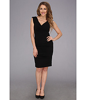 Nicole Miller - V-Neck Satin Crepe Dress