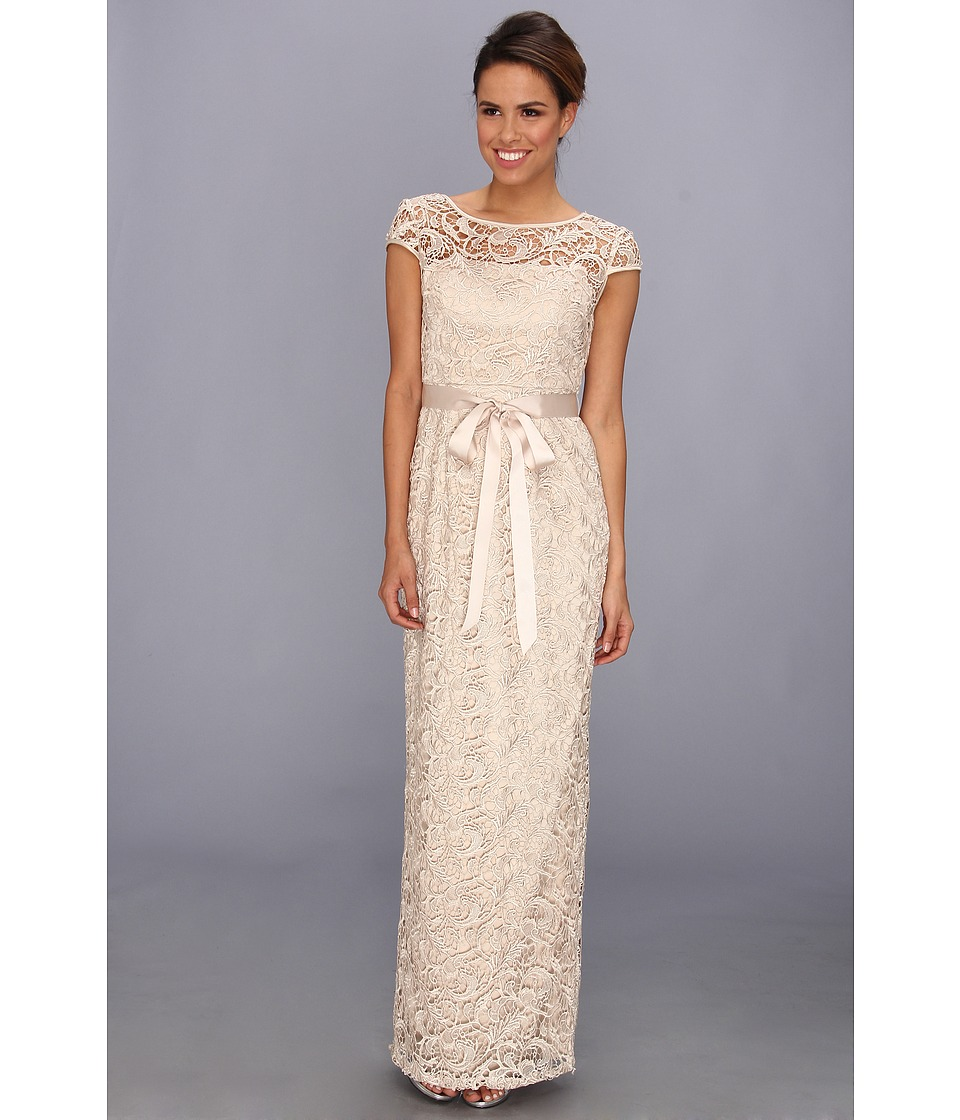 Adrianna Papell Cap Sleeve Lace Gown Champagne Womens Dress