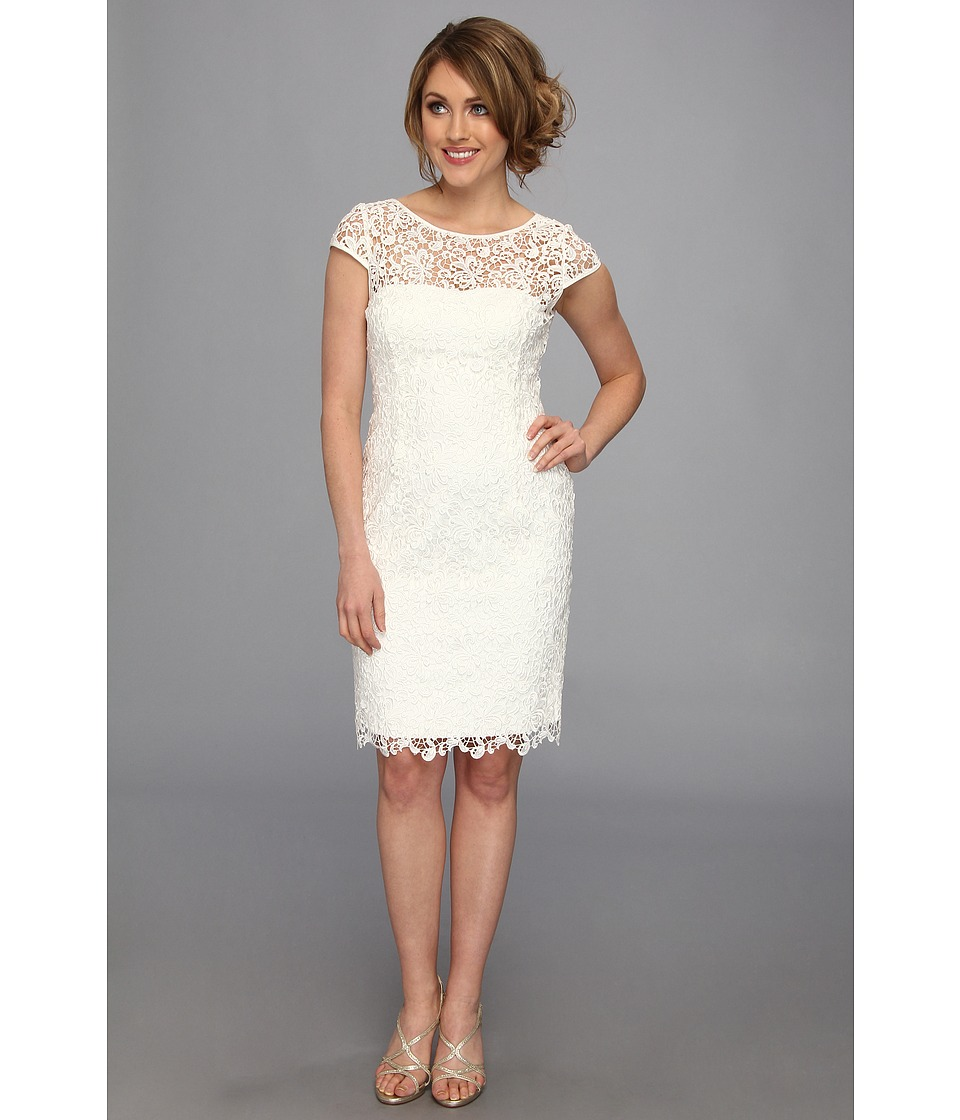 Adrianna Papell Cap Sleeve Lace Sheath White Womens Dress