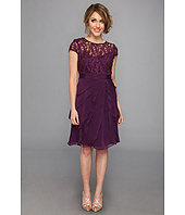 Adrianna Papell - Lace Bodice Flutter Skirt Short Dress