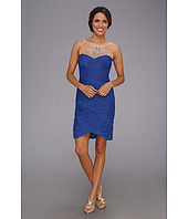 Adrianna Papell - Rouched Mesh Necklace Dress