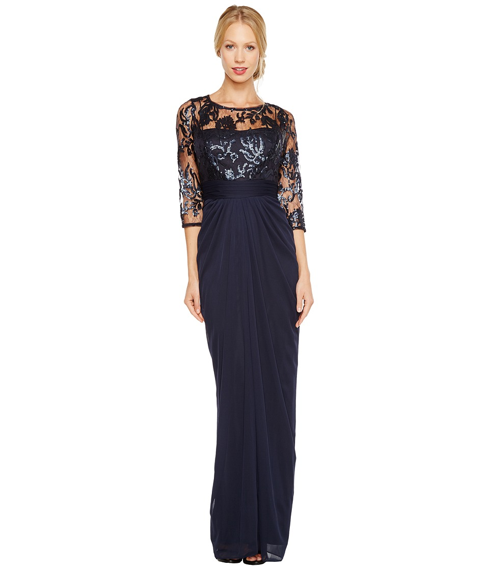 Adrianna Papell Embroidered Sequin Bodice Drape Gown Ink Womens Dress