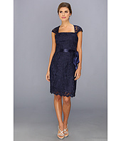 Adrianna Papell - Square Neck Cape Sleeve Lace Dress w/ Ribbon Sash