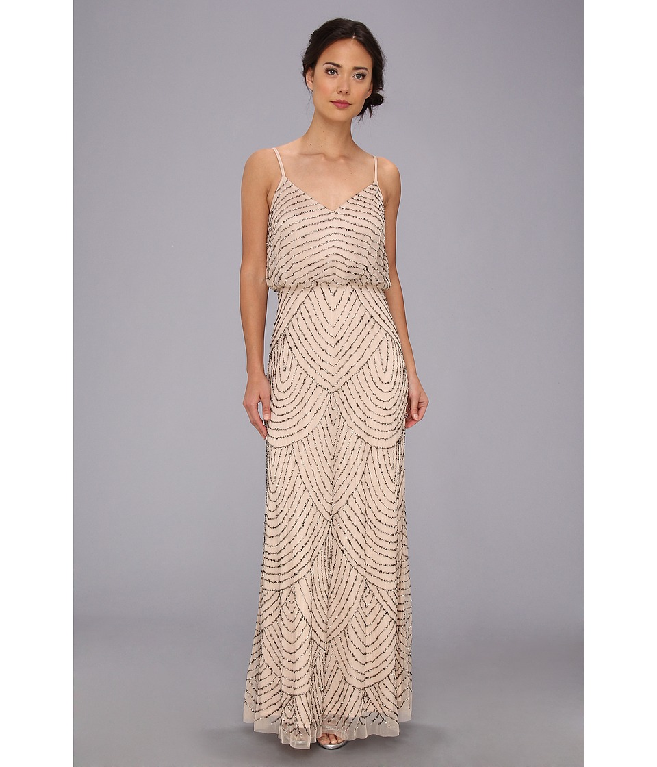 Adrianna Papell Taupe/Pink Beaded Mesh Blouson Gown from $195.00 ...