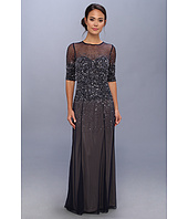Adrianna Papell - 3/4 Sleeve Illusion Yoke Beaded Gown