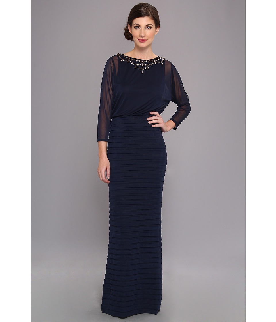 Adrianna Papell - Slit Sleeve Banded Skirt Gown w Necklace Navy Womens Dress $190.00 AT vintagedancer.com