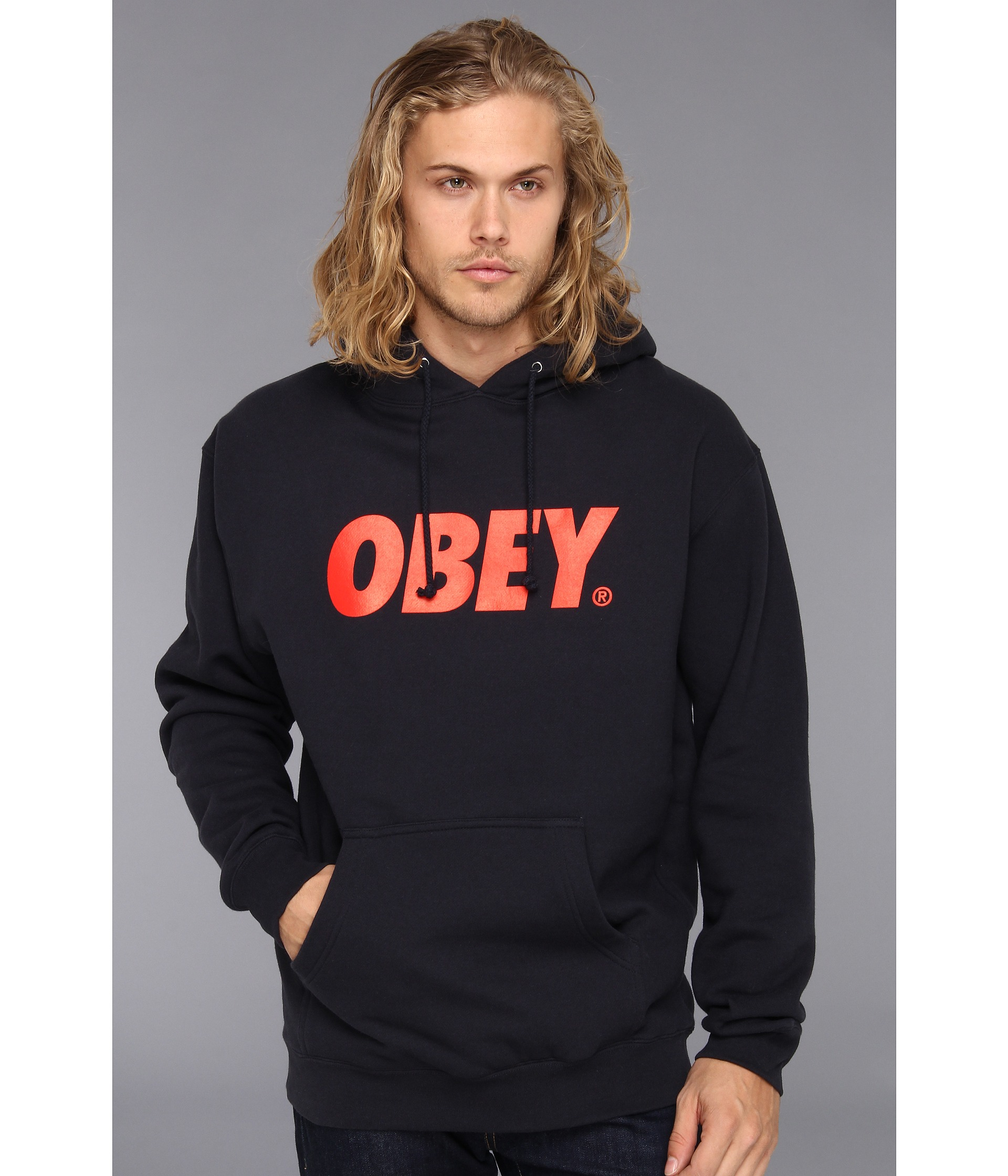obey obey font pullover hood sweatshirt shipped free at zappos. Black Bedroom Furniture Sets. Home Design Ideas