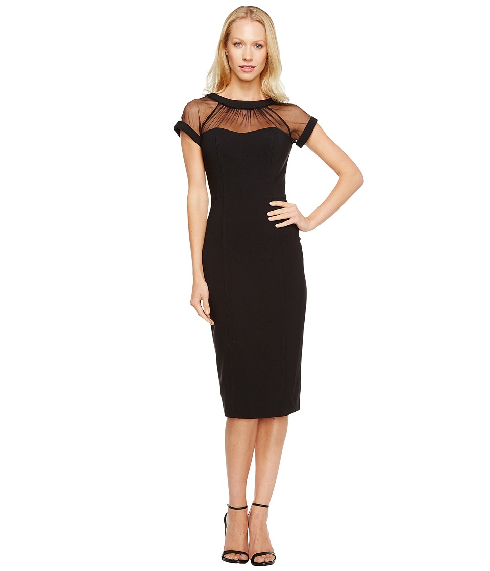 Maggy London - Illusion Top Crepe Dress (Black) Womens Dress