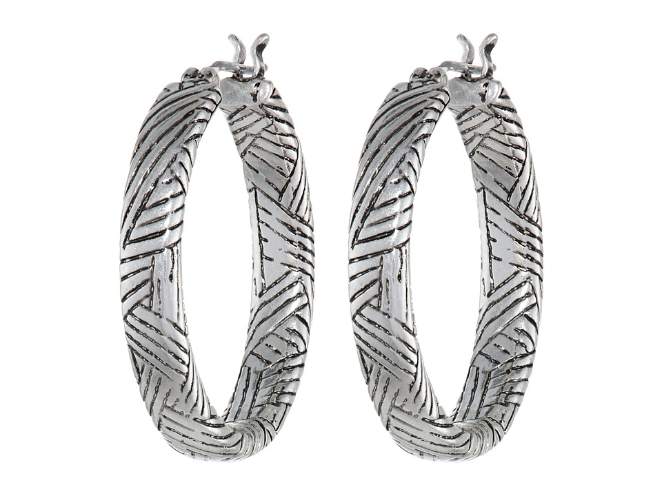 The Sak Batik Inside/Out Hoop Earrings Silver Earring