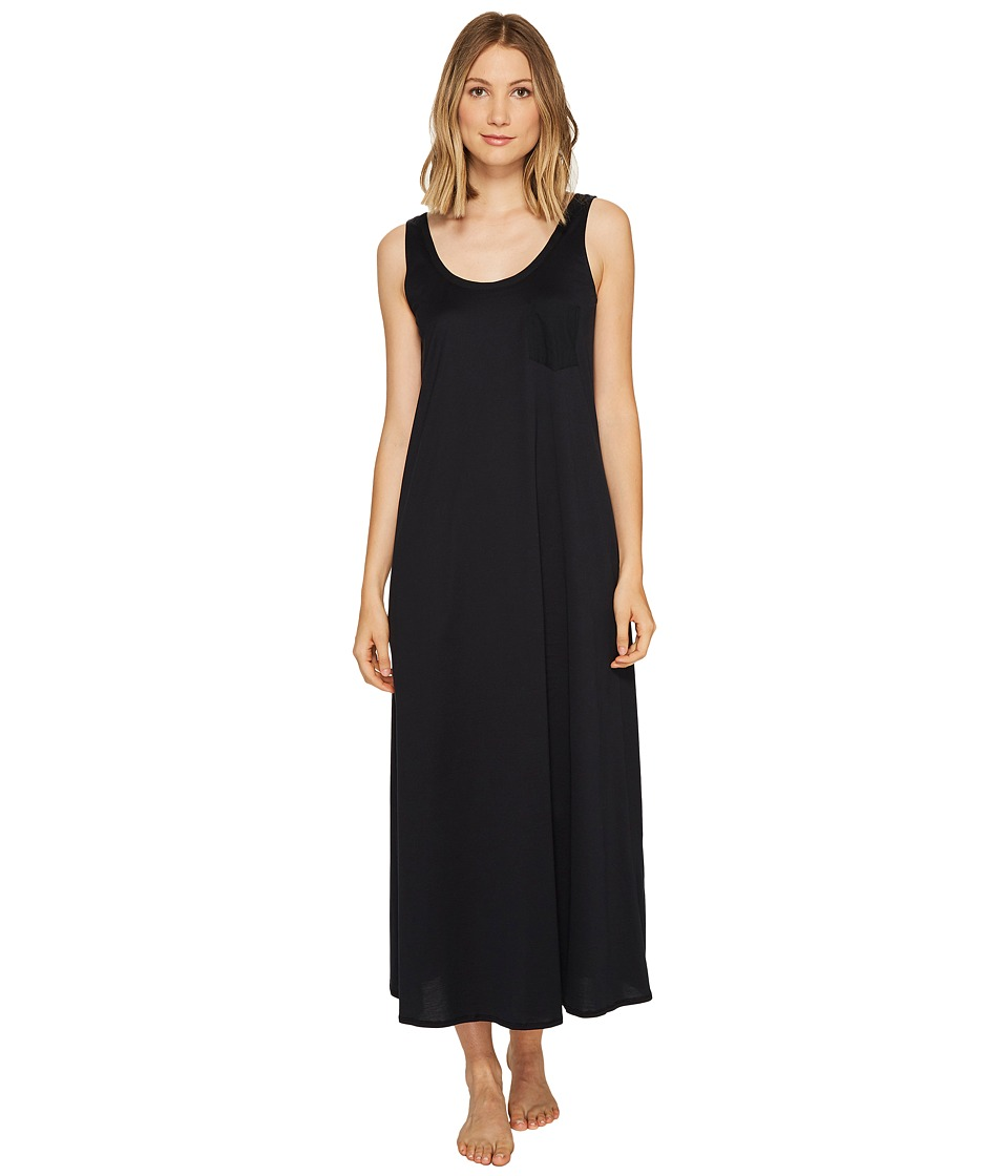 Hanro Cotton Deluxe Long Tank Nightgown Black Womens Pajama
