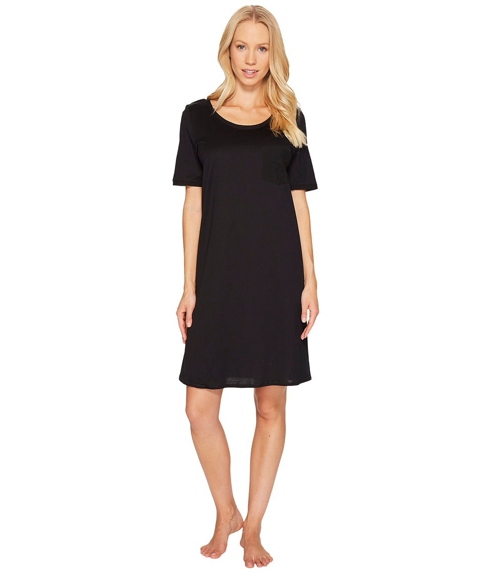 Hanro Cotton Deluxe S/S Big Shirt (Black) Women's Pajama