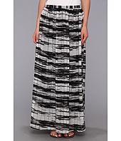 Calvin Klein - Printed Pinktuck Polyester Chiffon Maxi Skirt