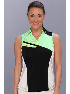 DKNY Golf Patsey Patchwork Sleeveless Top Figi Green