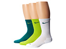Nike 3 Pair Pack Dri-Fit Cushion Crew (Fierce Green/Mystic Green/White/Mystic Green/Mystic Green)