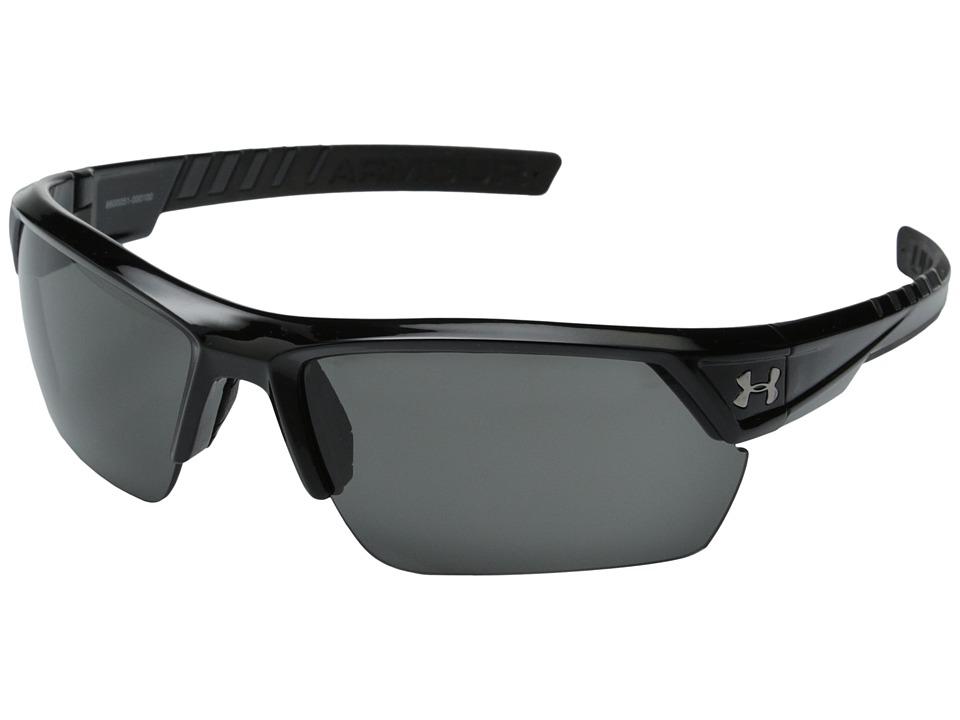 Under Armour - UA Igniter 2.0 (Shiny Black Frame w/ Black Rubber/Gray Lens) Sport Sunglasses