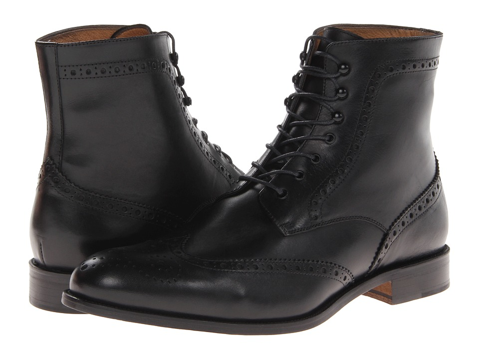Massimo Matteo - 7-Eye Wing Boot (Black) Mens Shoes
