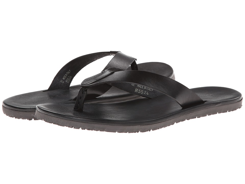Massimo Matteo - Leather Thong Sandal (Black) Mens Sandals