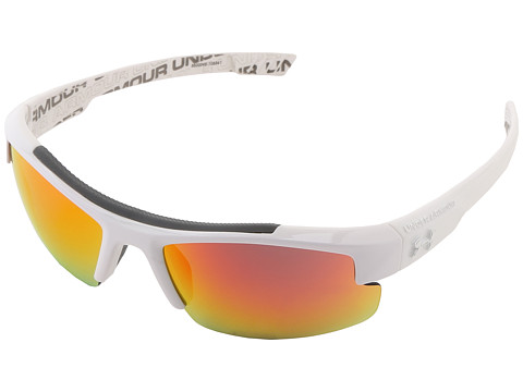 Under Armour UA Nitro L (Youth) - Shiny White Frame w/ Charcoal Rubber w/ Repeating UA Wordmark On