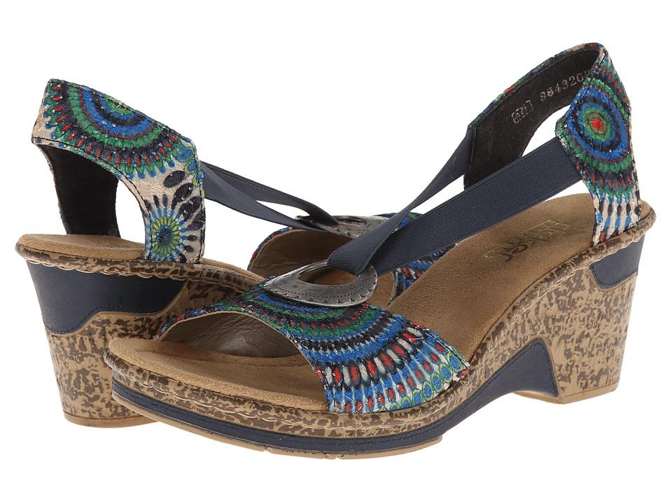 Rieker 60682 Roberta 82 Colibri/Denim Womens Wedge Shoes