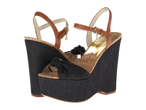Shop MICHAEL Michael Kors online and buy MICHAEL Michael Kors Benji Wedge Dark Denim-Denim-Vachetta Shoes - MICHAEL Michael Kors - Benji Wedge (Dark Denim/Denim/Vachetta) - Footwear: Stack up in sweet style! The adorable Benji Wedge will finish your look with finesse! ; Woven fabric upper. ; Leather ankle strap with buckle closure. ; Peep-toe with knot. ; Leather and textile lining. ; Lightly padded leather footbed. ; Wrapped heel and platform. ; Leather sole. ; Imported. Measurements: ; Heel Height: 5 in ; Weight: 12 oz ; Platform Height: 2 in ; Product measurements were taken using size 7.5, width M. Please note that measurements may vary by size.