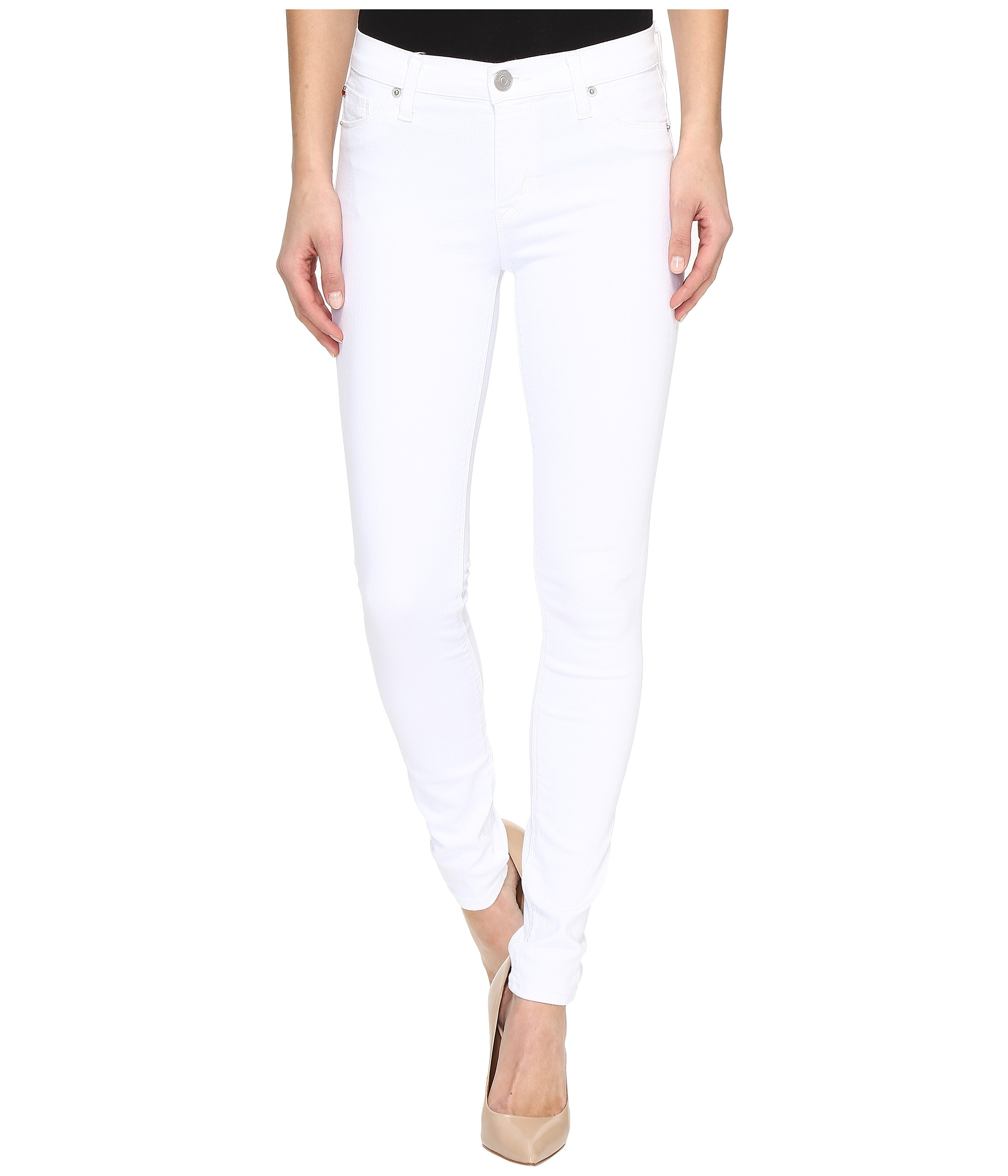 Hudson Nico Mid-Rise Super Skinny in White - Zappos.com Free ...