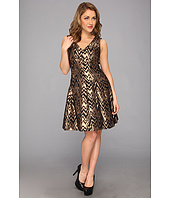 Vince Camuto - V-Neck Fit & Flare Metallic Jacquard Dress
