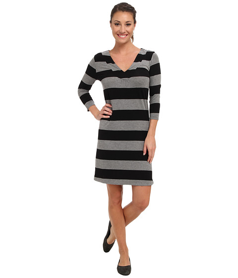 Shop Soybu online and buy Soybu Tiffanie Dress Black Online - Soybu - Tiffanie Dress (Black) - Apparel: Embrace your feminine side in this flattering Soybu Tiffanie Dress. ; Regular fit has a modern cut that hugs the body while still leaving room for movement. ; Lightweight rayon fabric blended with spandex for a smidgen of stretch. ; Stylish stripes throughout. ; V-neckline. ; Three-quarter length sleeves. ; Straight hemline hits above the knee. ; 95% rayon, 5% spandex. ; Machine wash cold, tumble dry low. ; Imported. Measurements: ; Length: 35 in ; Product measurements were taken using size SM (US 4-6). Please note that measurements may vary by size.