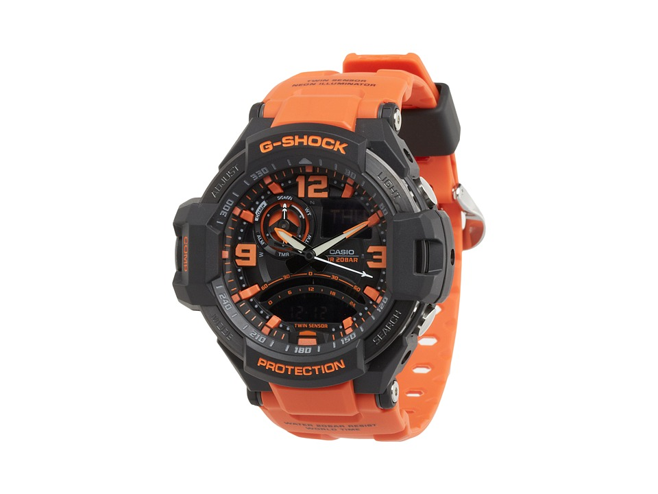 G Shock G Aviation Twin Sensor GA1000 Black/Orange Sport Watches