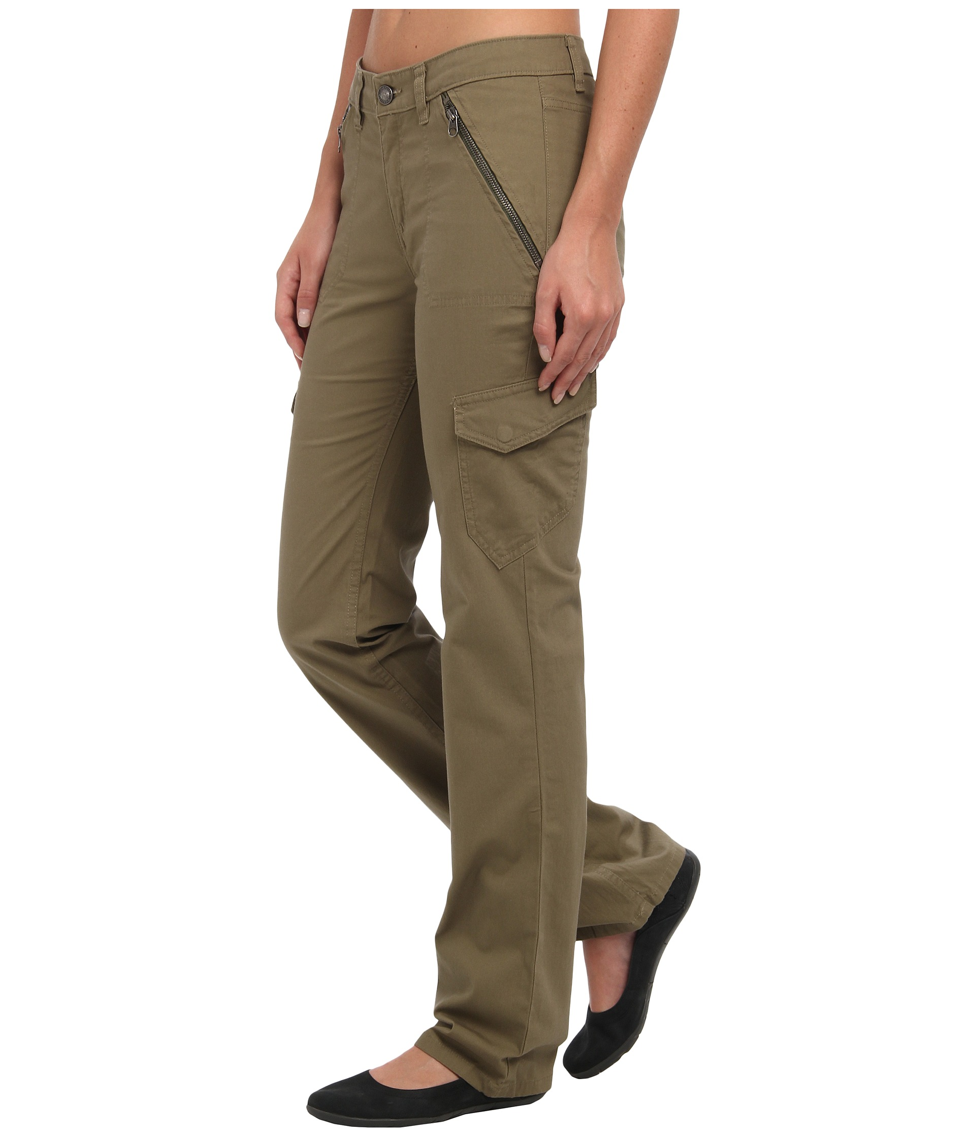 Dickies' Stretch Cargo Pants are ready for action. Any on-the-go woman will feel confident in these stretch twill, straight leg pants. The bellowed cargo pockets, multi-use pockets and back flap pockets provide a lot of utility needed for working on special projects.