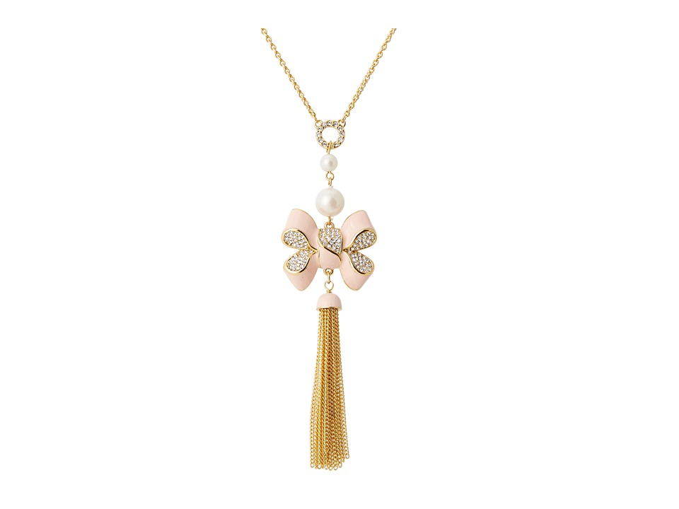 My Flat In London Miss Khloe Tassel Long Necklace Gold/Pink Necklace