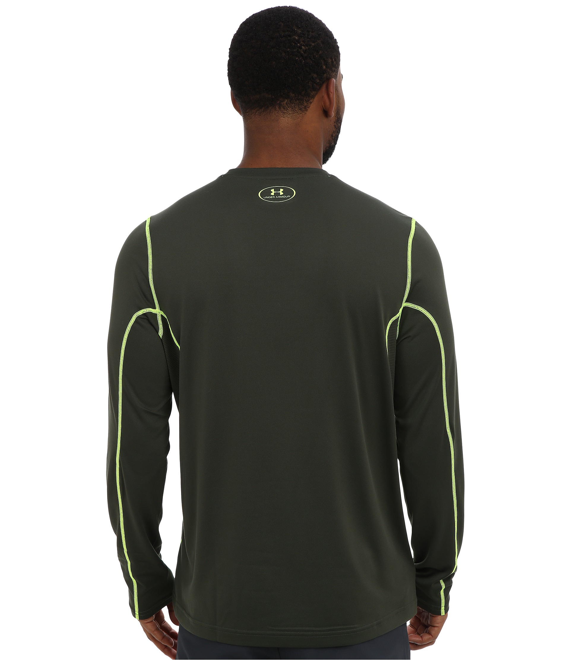 Under armour ua tech long sleeve t shirt rifle green rifle for Yellow under armour long sleeve shirt