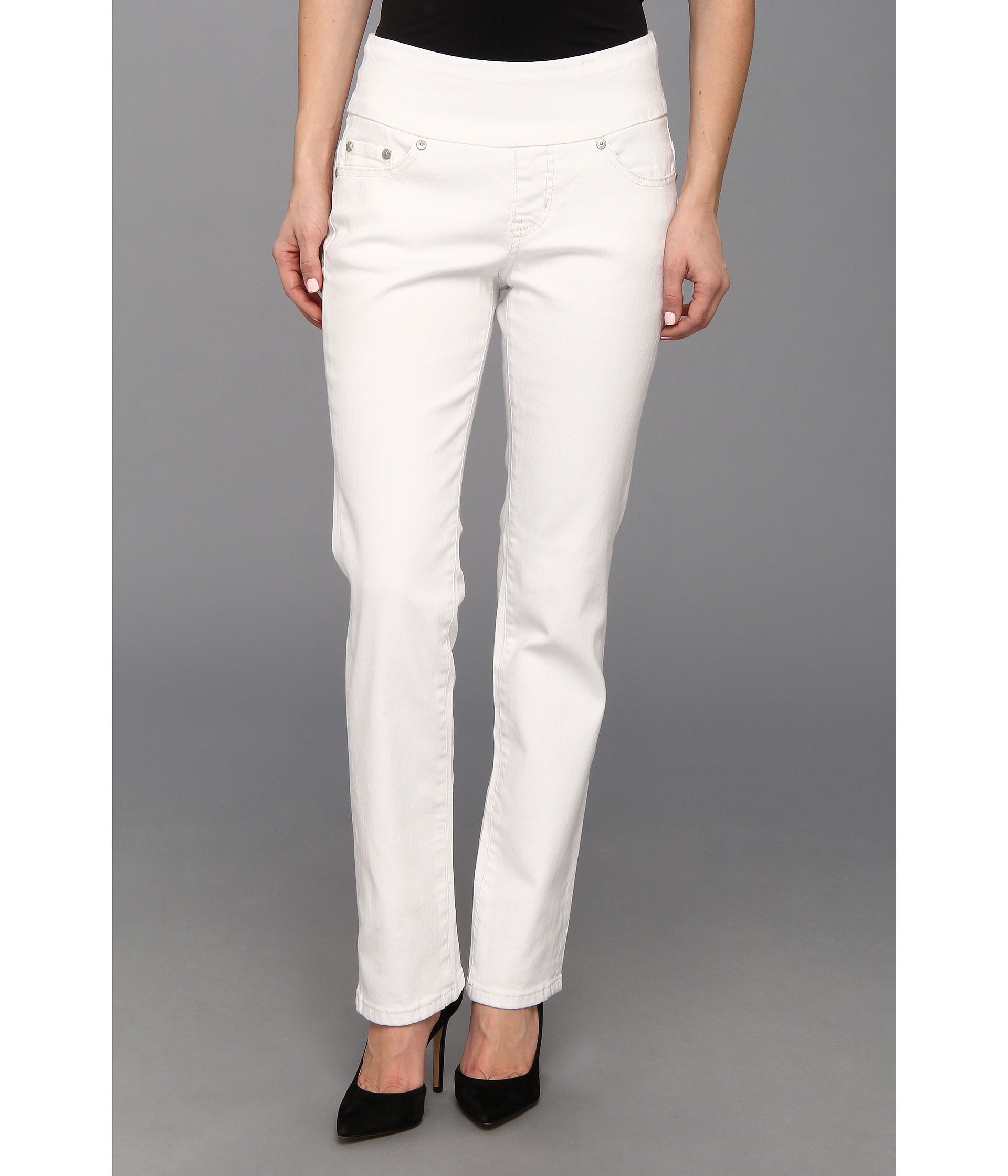 Jag Jeans Petite Petite Peri Pull-On Straight Jean in White - 6pm.com