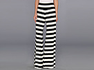KAMALIKULTURE Wide Pants (Black/Off White Stripe)