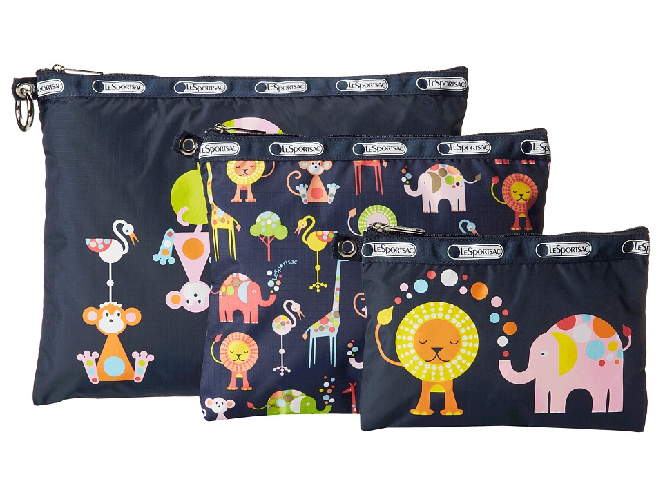 LeSportsac Luggage 3 Piece Travel Set Zoo Cute 3 Pack Pouch Travel Pouch