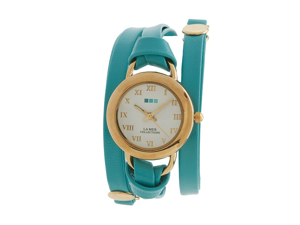 La Mer Saturn Leather Wrap Turquoise/Gold Watches