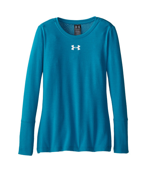 Under armour kids coldgear infrared crew big kids teal for Teal under armour shirt