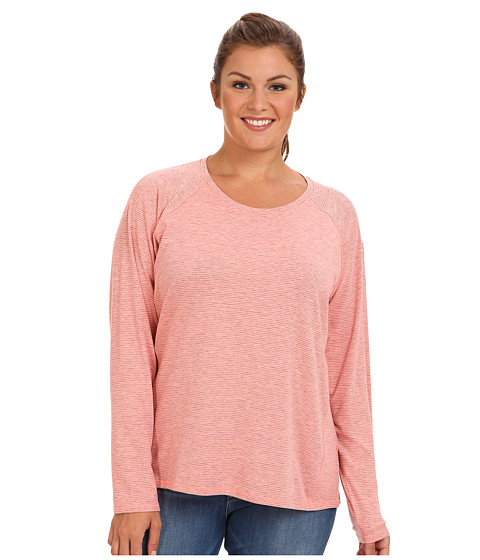 Columbia Plus Size Layer First Stripe L/S Top (Coral Glow/Heathered Mini Stripe) Women's Long Sleeve Pullover