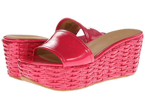 Shop Nine West online and buy Nine West Rithanne Pink Synthetic Shoes - Nine West - Rithanne (Pink Synthetic) - Footwear: Have some fun in the sun with these sweet sandals! ; Easy slip-on wear. ; Polished man-made upper. ; Man-made lining. ; Lightly cushioned man-made footbed. ; Woven platform and wedge heel. ; Man-made sole. ; Imported. Measurements: ; Heel Height: 3 in ; Weight: 10 oz ; Platform Height: 2 in ; Product measurements were taken using size 7.5, width M. Please note that measurements may vary by size.