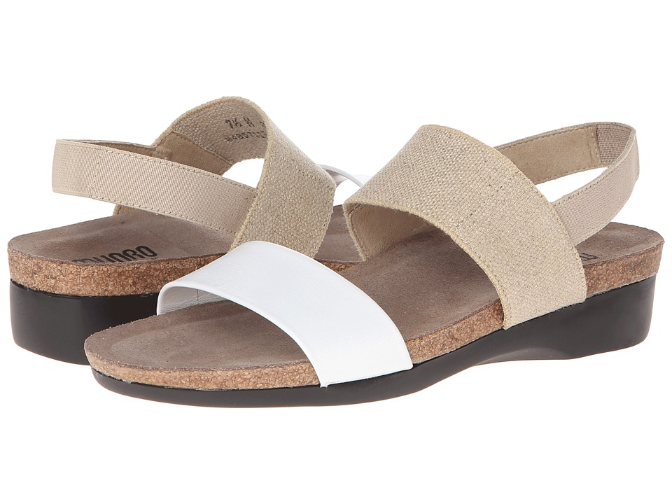 Munro American Pisces Natural Fabric/White Kid Womens Sandals