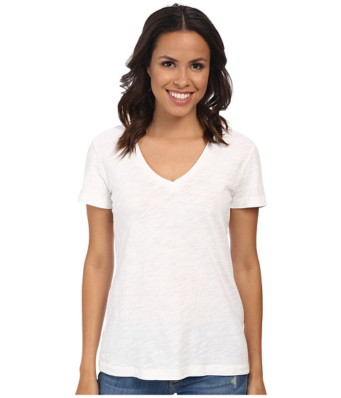Mod-o-doc Slub Jersey S/S V-Neck Tee (White) Women's T Shirt